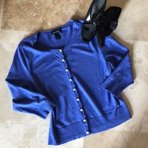 WHBM gorgeous periwinkle blue button down sweater